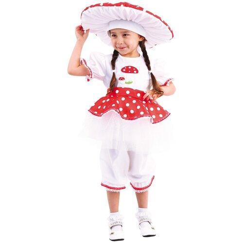 Купить Костюм пуговка Мухомор (2068 к-19), белый/красный, размер 122, Карнавальные костюмы