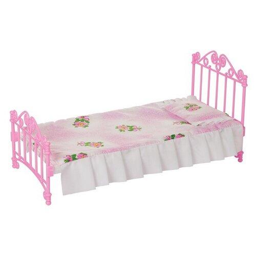 Кроватка розовая с постельным бельем (в пакете п/п) 31*16*16см