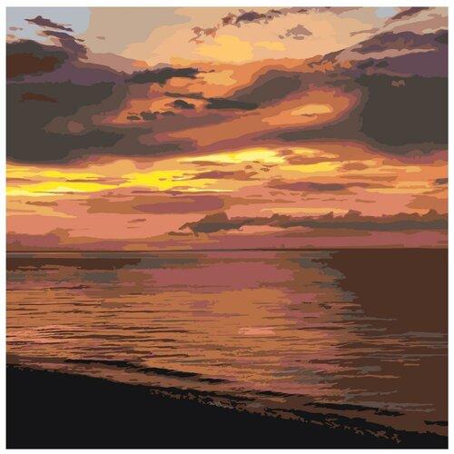 закат в морской бухте раскраска картина по номерам на холсте ets258 4040 40х40 Морской закат Раскраска картина по номерам на холсте ETS303-2 40х40