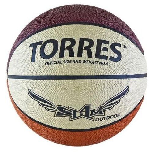 Мяч баскетбольный Torres Slam, размер 5, резина, бежево-бордово-оранжевый (B00065) мяч баскетбольный torres slam b02065 р 5