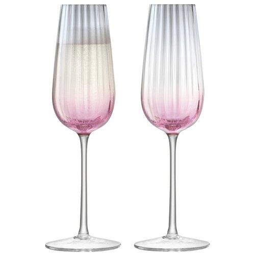 Набор из 2 бокалов-флейт LSA International для шампанского Dusk 250 мл розовый-серый