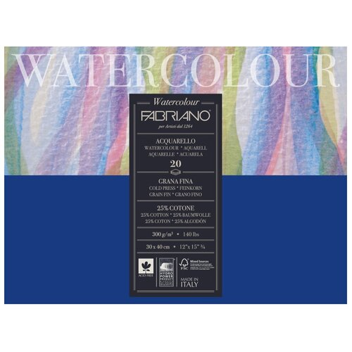 Фото - Альбом для акварели Fabriano Watercolour 30 х 40 см, 300 г/м², 20 л. альбом для акварели royal talens rembrandt 32 х 24 см 300 г м² 20 л