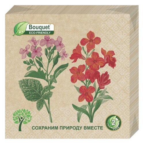 """Купить Салфетки бумажные eco-friendly Bouquet, Крафт """"Примулы"""" 1 упаковка по 25 штук, размер 33х33 сантиметра, 2-х слойные."""