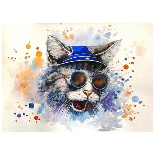 Купить Картина по номерам с цветным холстом Molly 30х40 см Кот-рокер, Картины по номерам и контурам