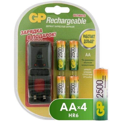 Фото - Аккумулятор Ni-Mh 2500 мА·ч GP Rechargeable 2500 Series AA + зарядное устройство, 4 шт. зарядное устройство gp pb320gs 2cr1