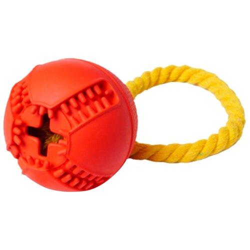 Игрушка для собак Homepet Silver Series мяч для лакомств с канатом каучук красный 7,6 х 8,2 см (1 шт)