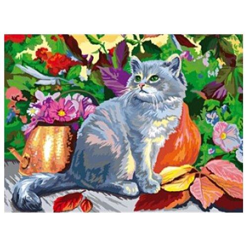 рыжий кот картина по номерам сиреневые и белые цветы 30x40 см х 3712 Рыжий кот Картина по номерам Котёнок и цветы 60х80 см (Х-7952)