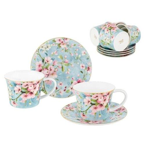 Чайный сервиз Elan gallery Яблоневый цвет на голубом, 6 персон, 12 предм., голубой недорого