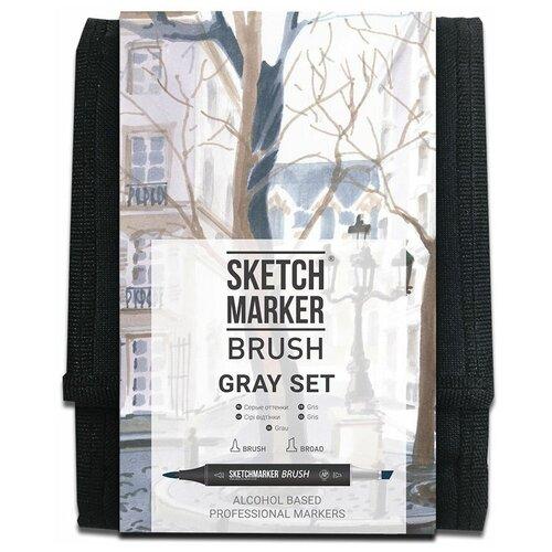 Фото - SketchMarker Набор маркеров Brush Gray Set, 12 шт. sketchmarker набор маркеров brush oriental style set 48 шт