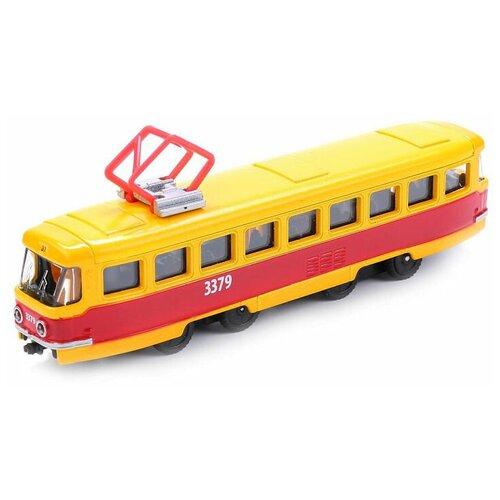 Фото - Трамвай ТЕХНОПАРК SB-16-66WB, 16.5 см, желтый/красный автобус технопарк рейсовый sb 16 88 blc 7 5 см желтый