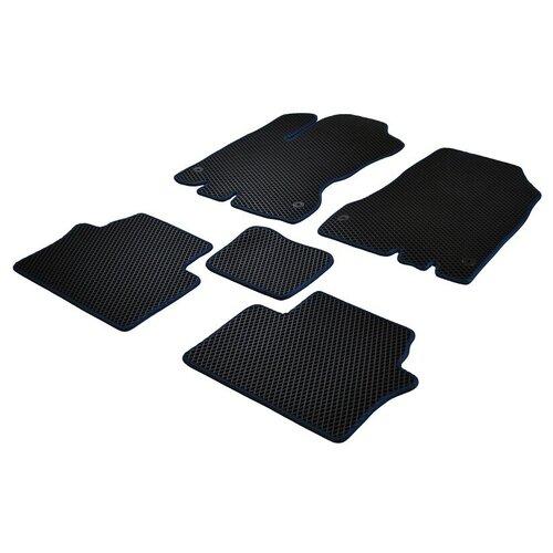 Коврики ЕВА для Ford Mondeo IV 2007 - 2014 (крепления клепки) ViceCar (темно-синяя окантовка)
