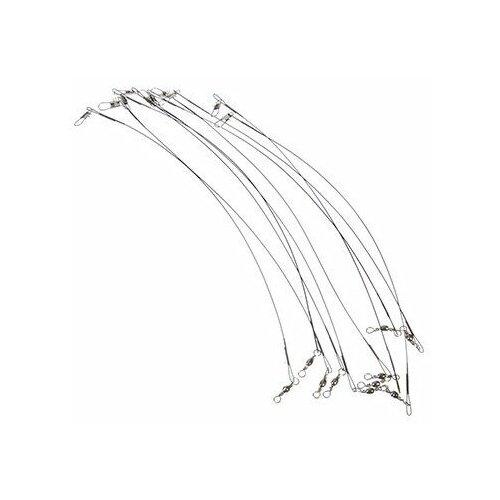 Набор поводков AZOR FISHING 10шт, 10 кг, 20 см, металические, черные