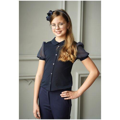 Купить Блузка MattieL' размер 128, темно-синий, Рубашки и блузы