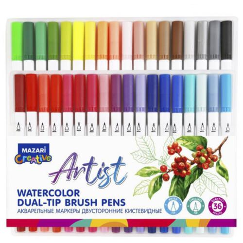 Купить Mazari Artist набор маркеров для скетчинга 36 шт двусторонние акварельные пуля/кисть 0.4-3.5 мм, Фломастеры и маркеры