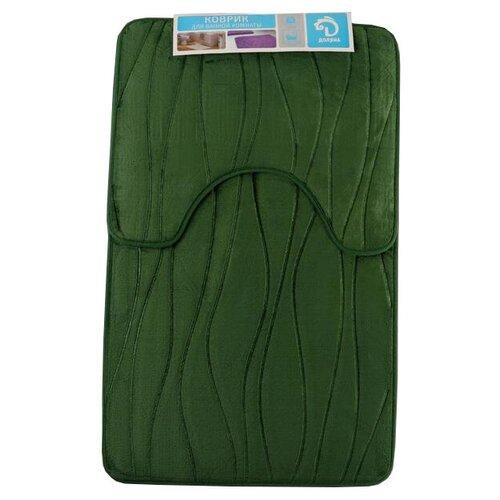 Комплект ковриков Доляна Водоросли 40х50 см, 50х80 см зеленый