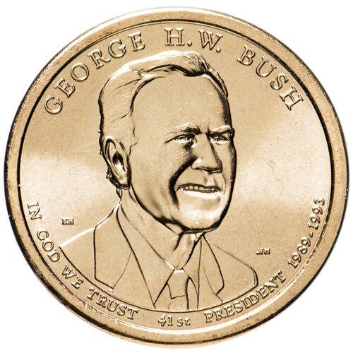 Монета Банк США 41-й Президент США-Джордж Герберт Уокер Буш (Джордж Буш-старший), 1 доллар 2020 года, Моентный двор Филадельфии