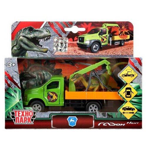 Машинка Технопарк Газон Next эвакуатор и динозавр открываются двери, багажник, инерцонная, металлическая 12 см