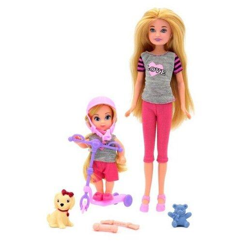 Набор кукол Funky Toys Мила 23 см и Вики 12 см на самокате с собачкой, 70004
