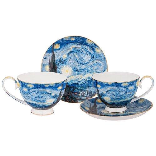 Фото - Набор чайных пар Lefard Звездная ночь 104-650, 4 предм., 2 персоны, синий сервиз чайный из фарфора звездная ночь 2 предмета 104 649 lefard