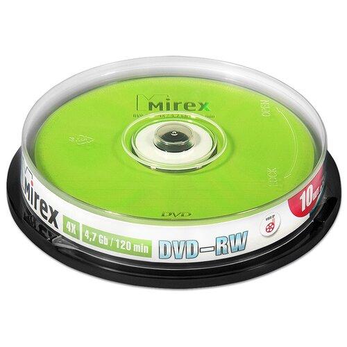 Диск Mirex DVD-RW 47Gb 4x cake упаковка 10 штук