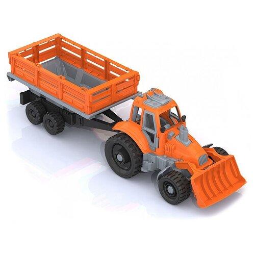 Купить Трактор Нордпласт с грейдером и прицепом (397), Машинки и техника