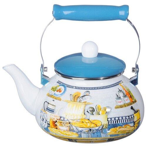 Vetta Чайник Хлеб 894466 2,5 л, белый / голубой чайник vetta глянец 847069 2 7 л