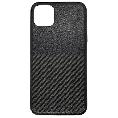 Кожаный чехол с карбоновым тиснением для iPhone 11 Pro Черный iGrape