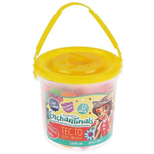 Купить Тесто для лепки MultiArt Enchantimals, 12 цветов, 90 гр, 2 формочки, глаза, в ведре (9012-EN), Пластилин и масса для лепки
