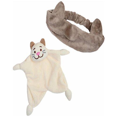 Крошка Я Игрушка-комфортер для новорождённых, игрушка для детей Котик + повязка крошка я игрушка комфортер для новорождённых игрушка для детей первый подарок пинетки
