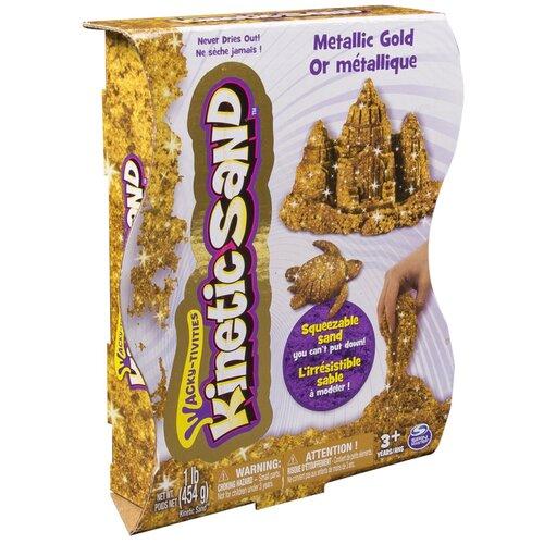 Кинетический песок Kinetic Sand Драгоценные камни, металлическое золото, 0.45 кг, картонная пачка