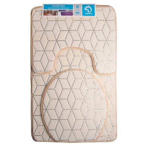 Комплект ковриков Доляна Геометрик 35х40 см, 40х50 см, 50х80 см молочный