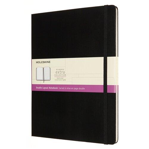 Блокнот Moleskine CLASSIC DOUBLE NB413HBK XLarge 190х250мм 192стр. линейка/нелинованный твердая обложка черный