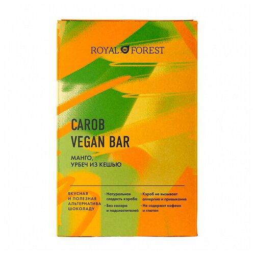 Фото - Шоколад ROYAL FOREST Carob Vegan Bar Манго, урбеч из кешью, 50 г royal forest carob drops дропсы из порошка плодов рожкового дерева 50 г