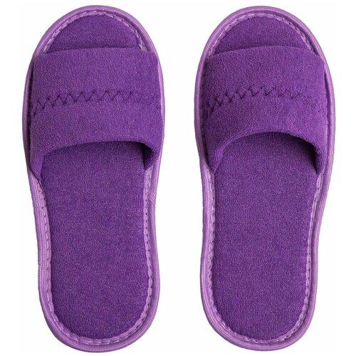 Тапочки женские Махра AMARO HOME Открытый нос (Фиолетовый) 39-41