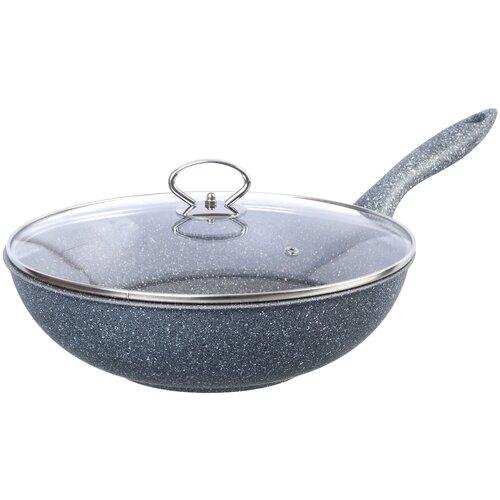 Сковорода-вок Elan gallery Мрамор 120177, 28 см, с крышкой, серый сковорода d 24 см kukmara кофейный мрамор смки240а