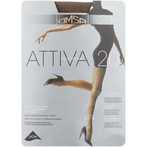 Колготки Omsa Attiva, 20 den, размер 3-M, camoscio (коричневый) колготки omsa attiva 70 den размер 2 s camoscio коричневый