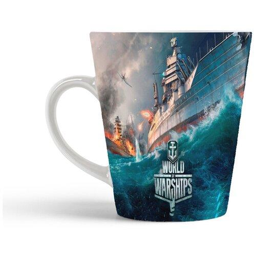 Кружка-латте CoolPodarok ВоВ Корабли World of Warchips (Перестрелка двух кораблей и надпись снизу)
