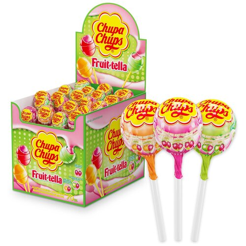 карамель chupa chups xxl flavors playlist ассорти 60 шт Карамель Chupa Chups Fruit-Tella ассорти, 1190 г 70 шт.
