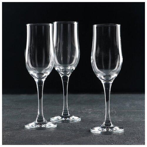 Набор бокалов для шампанского 200 мл Tulipe, 3 шт 552057 pasabahce набор бокалов tulipe 200 мл 6 шт прозрачный