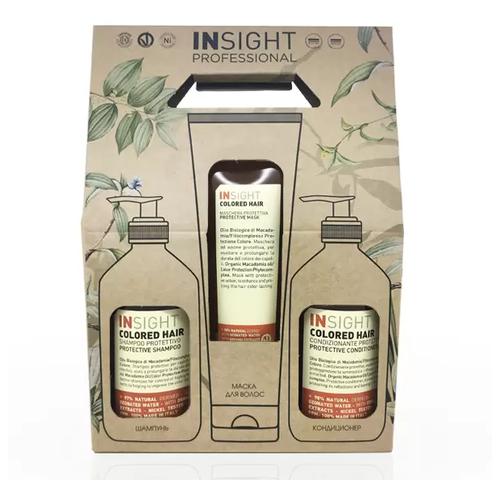 Фото - Insight Colored Hair - Набор для окрашенных волос (шампунь и кондиционер 400 мл + маска 250 мл) insight кондиционер colored hair защитный для окрашенных волос 400 мл