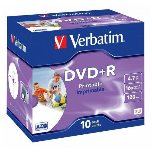 Диск DVD+R Verbatim 4.7Gb 16x Jewel case (10 штук), Printable (43508)