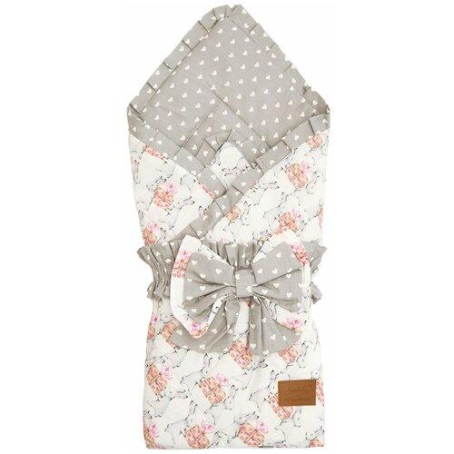 Купить Конверт-одеяло Amarobaby Happy Подарочек 93 см серый, Конверты и спальные мешки