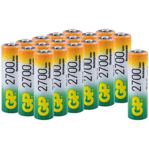 Аккумуляторная батарейка GP, типоразмер АА (HR6) 2700 мАч, в наборе 18 шт. батарейка gp алкалиновые типоразмера аа 4 шт