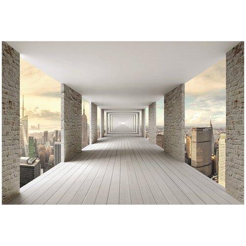 Фотообои 3D тоннель с кирпичными стенами над городом/ Красивые уютные обои на стену в интерьер комнаты/ 3Д расширяющие пространство над кроватью или над столом/ На кухню в спальню детскую зал гостиную прихожую/ размер 400х270см/ Флизелиновые