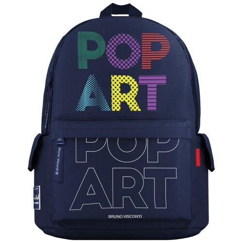 Рюкзак Bruno Visconti® молодежный синий «POP ART» Арт. 12-003-155/02 bruno visconti пенал совенок 14 051 02 синий