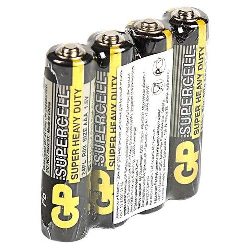 Фото - Батарейка солевая GP Supercell Super Heavy Duty, AAA, R03-4S, 1.5В, спайка, 4 шт. батарейка фаza aaa r03 heavy duty 4 шт
