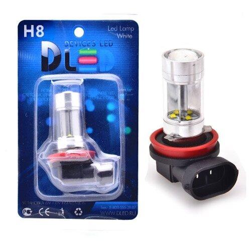 Светодиодная автомобильная лампа H8 - 8 CREE + Линза (1 лампа в упаковке)