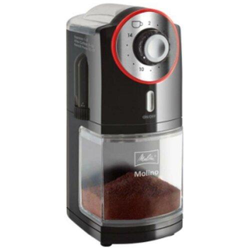 Кофемолка Melitta Molino 100Вт сист.помол.жернова вместим.200гр черныйкрасный