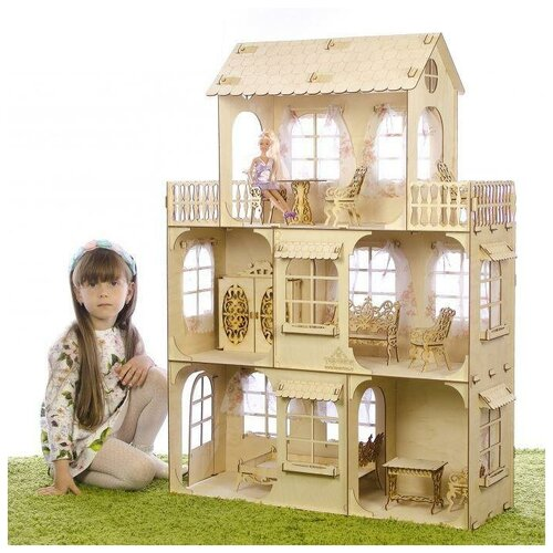 Большой кукольный дом Теремок без мебели, фанера 3 мм