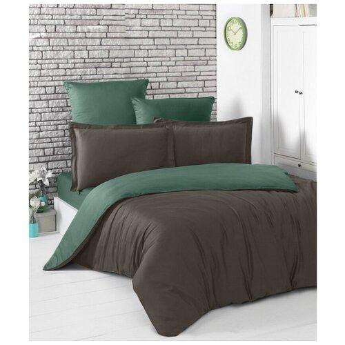 Комплект постельного белья евро (двухстороннее) LOFT (шоколадный - зеленый) комплект постельного белья karna евро сатин однотонный loft екрю 2986 char003